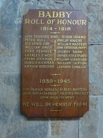 Roll of Honour, Badby Church
